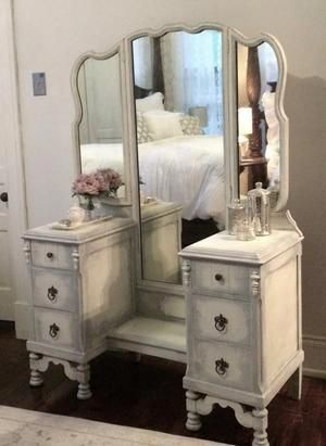 Vintage Vanity is distressed in cream, beige, and grey. With its aged wood look …