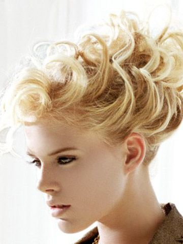 short curly hair up do