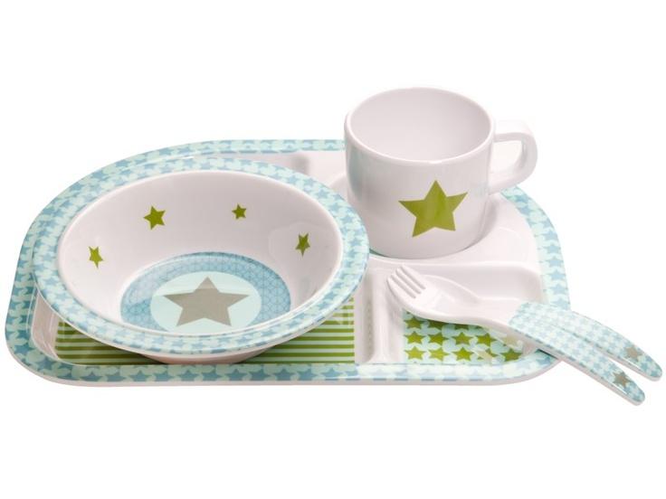Melamin Geschirr Set mit Stern in oliv von Lässig