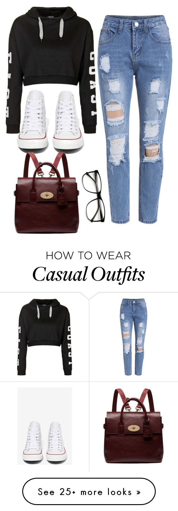 """cool and casual"" by ruthjauregui on Polyvore featuring Topshop, Converse, Mulberry, women's clothing, women, female, woman, misses and juniors"