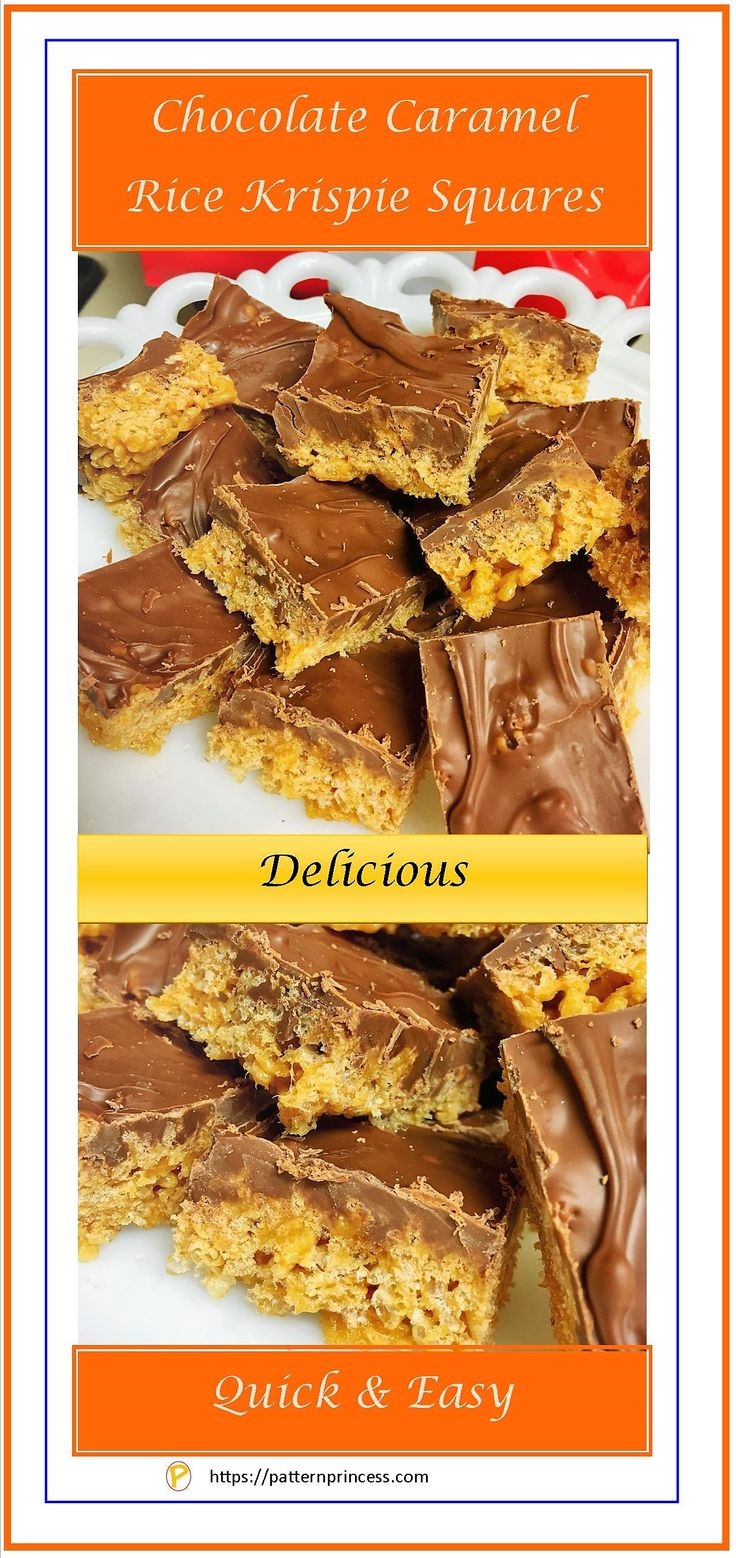 An amazing recipe that anyone would be proud to serve as a snack, potluck dish, or even a Holiday favorite. The recipe for the Chocolate Caramel Rice Krispie Squares is so good that my nephew asked for it as his birthday present this year. https://patternprinces.com #recipe #caramel #ricekrispies #chocolate #quick #easy #dessert #snacks