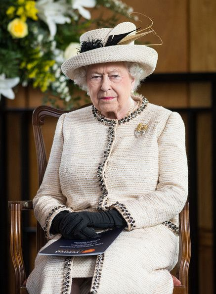 Queen Elizabeth II looks on during an official visit to Felsted School on May 6, 2014