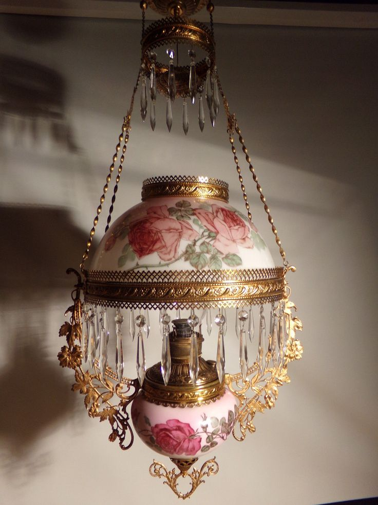 Details About Antique Miller Hanging Oil Lamp Pink Panel