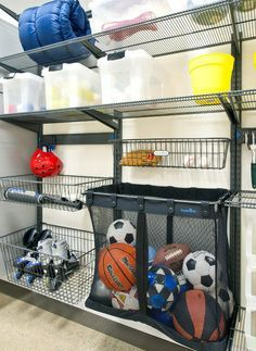"""for kids' items and sports equipment, open shelving is almost always the answer. """"I tell parents to forget about lids with kids,"""" she says. ..."""