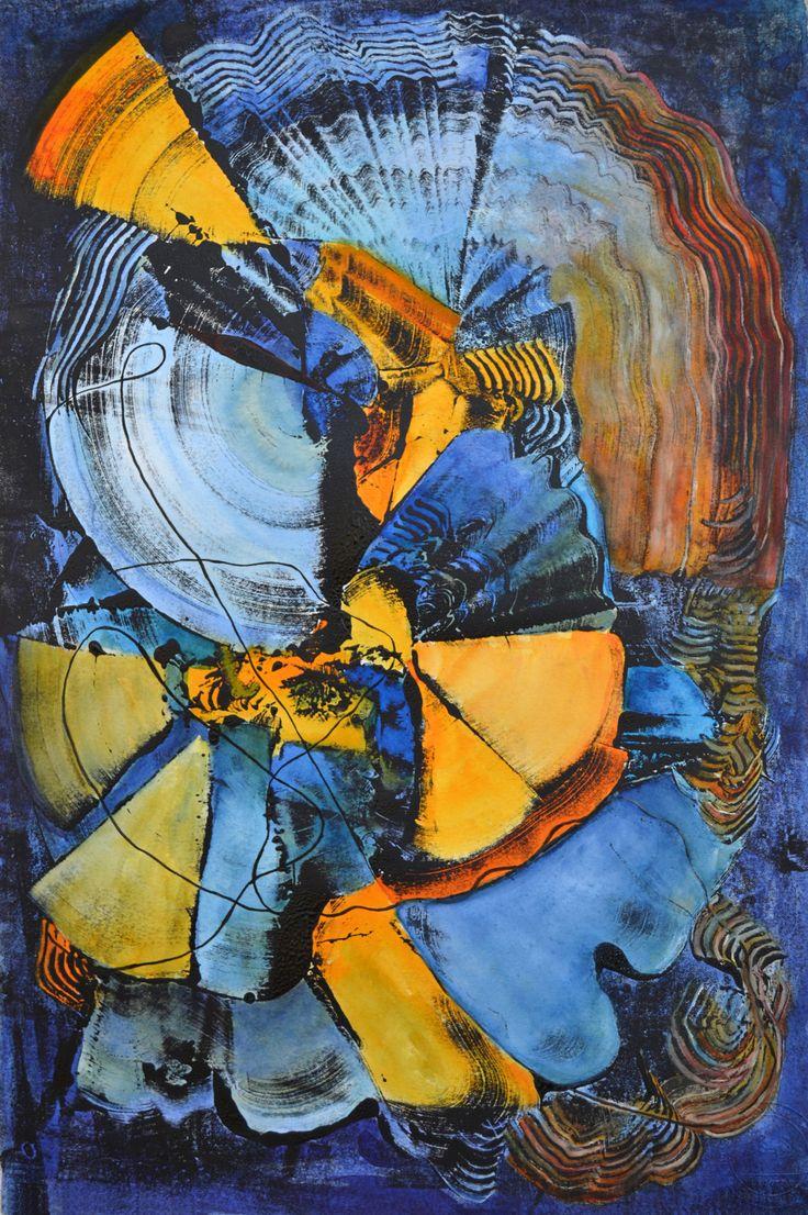 Anna Forycka-Putiatycka, Taneczny wir, monotypia, 54x36 cm, 2014 r.