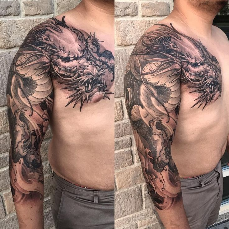Dragon sleeve chest piece completed @chronicink #workproud #wearproud