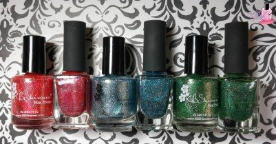 KBShimmer Birthstone and ILNP Holiday Comparison   nailedthepolish: reds, blues, greens, golds, purples and lime greens.