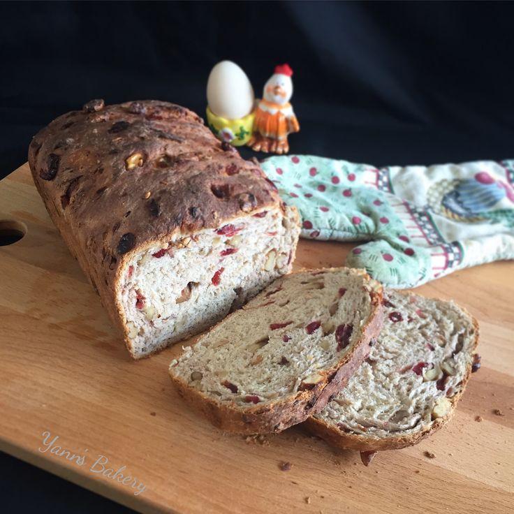 Homemade Cranberry, Walnut & Oatmeal Bread Loaf.