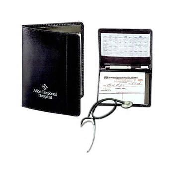 Bonded Leather Prescription Pad Holder - holds a prescription pad, business cards, and a pen. Can be personalized.