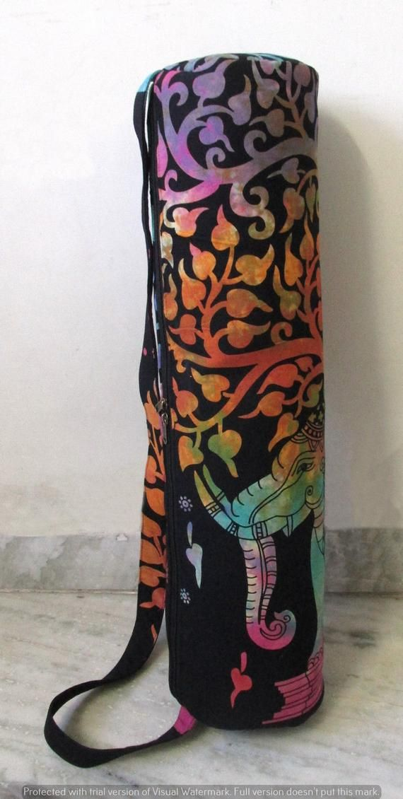 Indian Large Tie-Dye Yoga Mat Carrier Bag Gym Handmade Bags With Shoulder Strap.