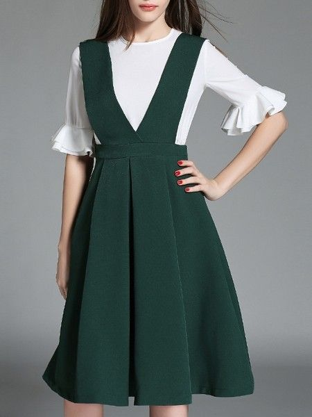 Basic Falbala White Top And Overalls Skirt