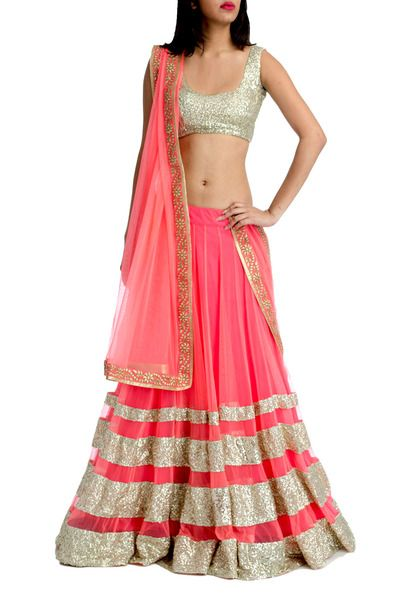 Neon Pink Lehenga with Sequin Tiers
