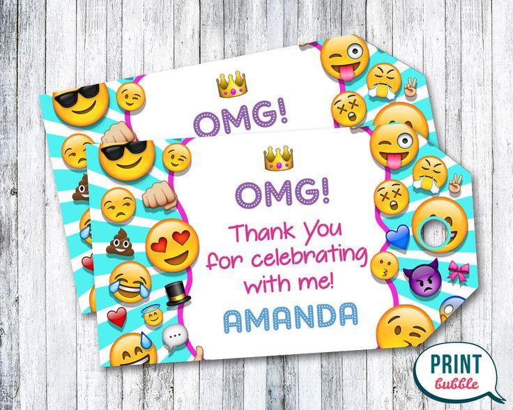 Emoji Thank You Tags, Emoji Birthday Tags, Emoji Party Tags, Emoji Tag, Emoji Thank You Printables, Emoticons Thank You Tags, Happy Faces by PrintBubbleInvites on Etsy https://www.etsy.com/listing/483066149/emoji-thank-you-tags-emoji-birthday-tags