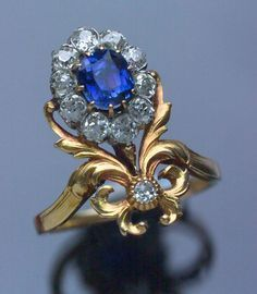 This is not contemporary - image from a gallery of vintage and/or antique objects. BELLE EPOQUE Ring Gold Sapphire Diamond
