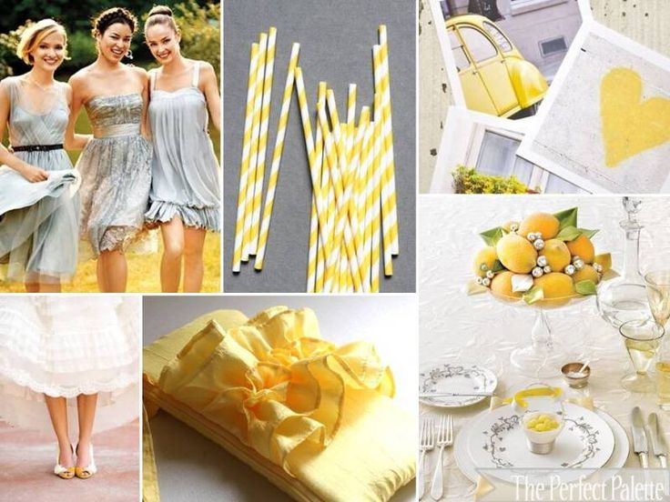 The Perfect Palette: {Sunshine Day!}: A Palette of Shades of Yellow, Gray + White #wedding #decor