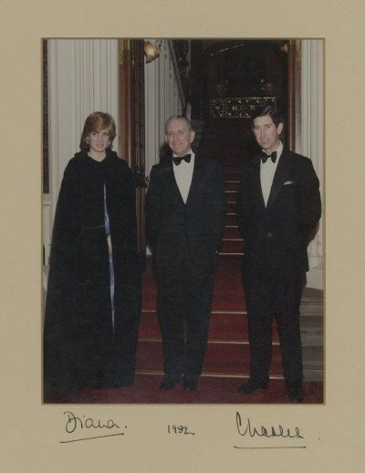 Charles and Diana were invited to dinner at the house of commons by the speaker, The Right Hon. George Thomas. Interestingly Charles has dated the photo 1982, which may have been when he signed it?