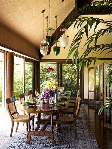 Cheryl Tiegs' British Colonial-inspired dining room by Martyn Lawrence-Bullard Design.