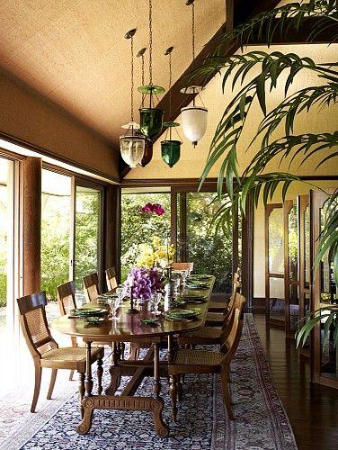 Cheryl Tiegs' British Colonial-inspired dining room by Martyn Lawrence-Bullard Design.