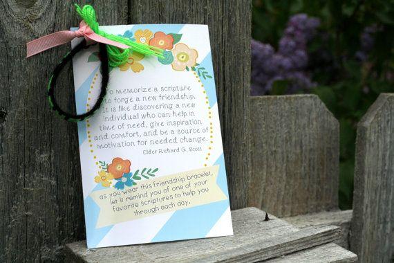 Girls camp handout - Friendship bracelet scripture quote  INSTANT download  / Young Women LDS quotes via Etsy