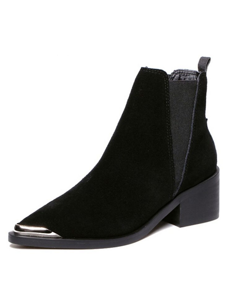 Black Suedette Stretch Side Pointed Ankle Boots