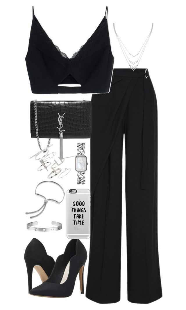 """Untitled #2161"" by ritavalente on Polyvore featuring Adeam, Versace, Michael Antonio, Forever 21, Yves Saint Laurent, Chanel, Topshop, Casetify, Monica Vinader and Cartier"