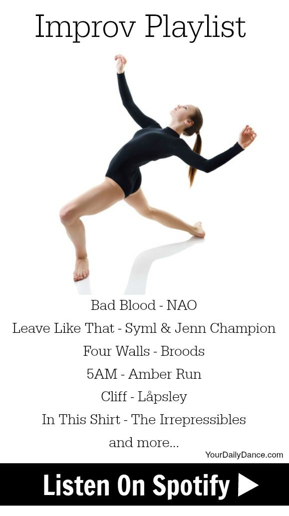 The best thing about improv is it is not only an escape but allows you to express your current mood.  This playlist allows you to mix up your movement by dancing big, small, more stylized or fluid.
