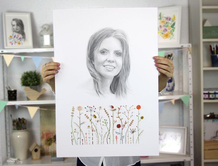 Retrato femenino a lápiz y bordados sobre papel. Pencil drawing and embroidery portrait.