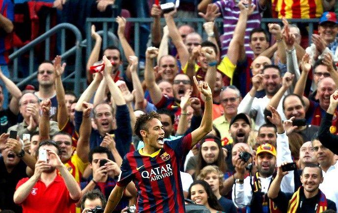 Neymar comemoração gol do Barcelona jogo Real Madrid (Foto: Reuters)