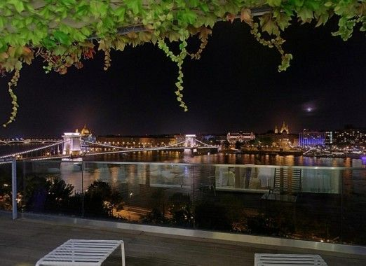 View from the panorama suite overlooking the Danube river, Chain Bridge and Pest riverbank.