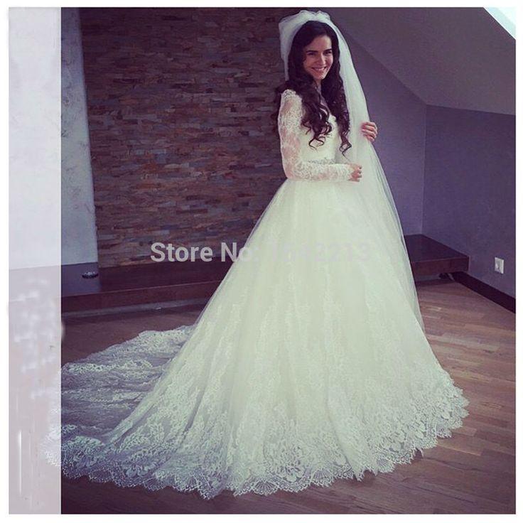 Длинные рукава невесты платье кружевные аппликации длинные платья свадебный поезд Vestido Novia 2016 новое поступление