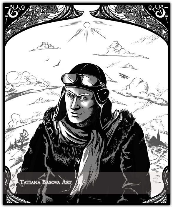 A German World War I pilot Art Print. Black-white art.
