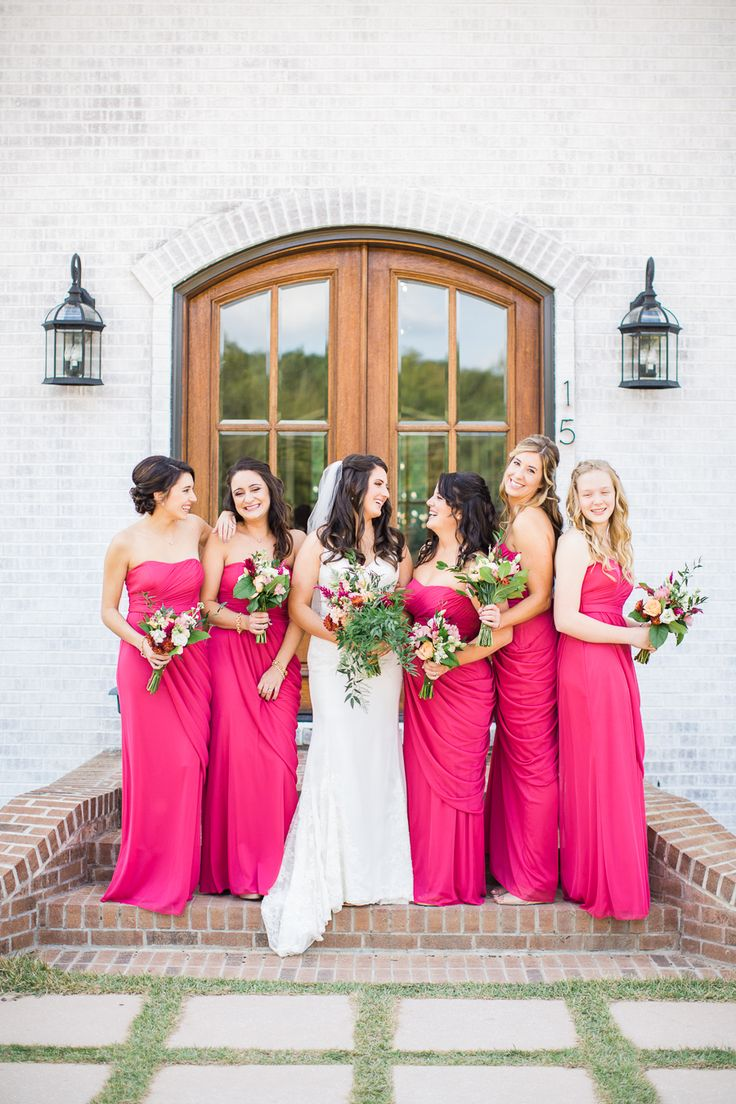 Cerise pink bridesmaid dress   best Hot Pink Wedding images on Pinterest  Centerpieces Wedding