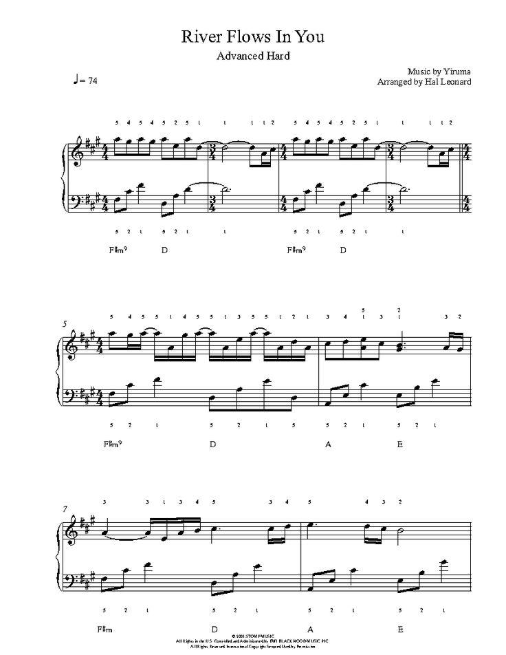 River flows in you by yiruma piano sheet music advanced