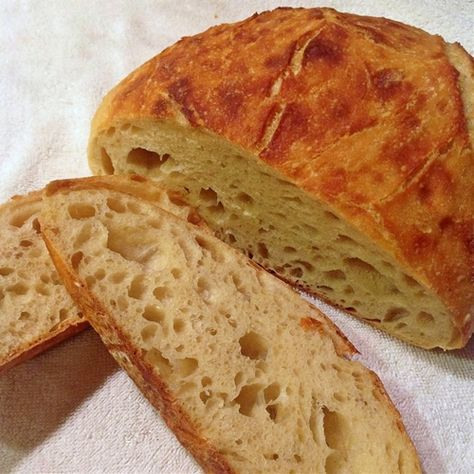 Super basic sourdough bread recipe. No bells, no whistles – just delicious bread. Use less water next time.