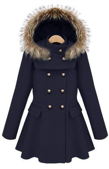 Navy Stand Collar Ruffles Buttons Coat US$79.03
