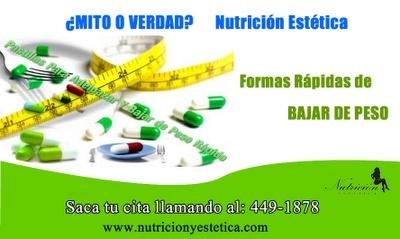Formas de perder peso rapidamente. Mito o Verdad. Nutricion Estetica  http://nutricionylaestetica.blogspot.com/2012/08/perderpesorapido.html