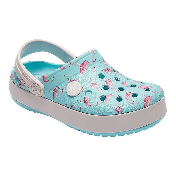 Crocs Crocband MultiGraphic K Clogs In Light Blue with Flamingos New Season