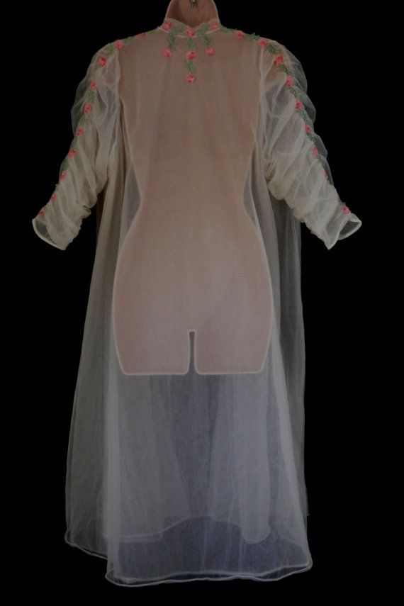 vintage lingerie sheer white nylon robe with pink roses and shirred s. Black Bedroom Furniture Sets. Home Design Ideas