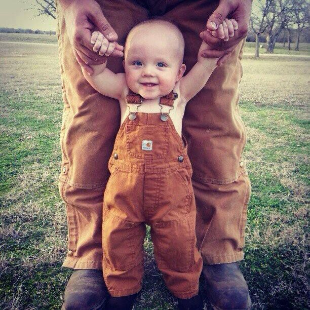 Baby boy and daddy carharts! Luke got some for Christmas this year, will have to get a picture like this!