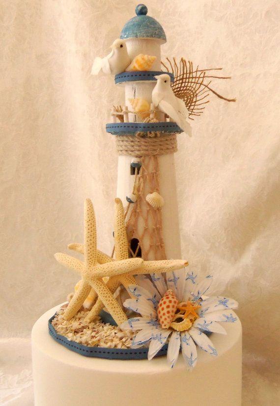 Nautical Lighthouse Starfish Cake Topper Up Cycled Via Etsy