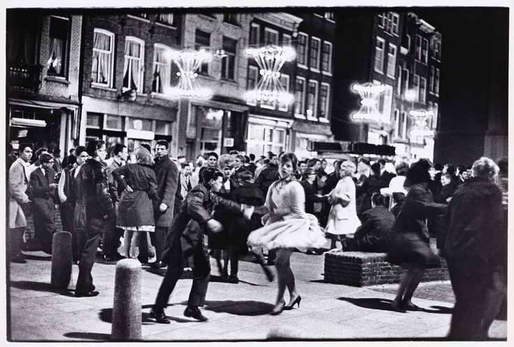 1956. Annual carnaval at the Nieuwmarkt in Amsterdam. Photo: Ed van der Elsken. #amsterdam #1956