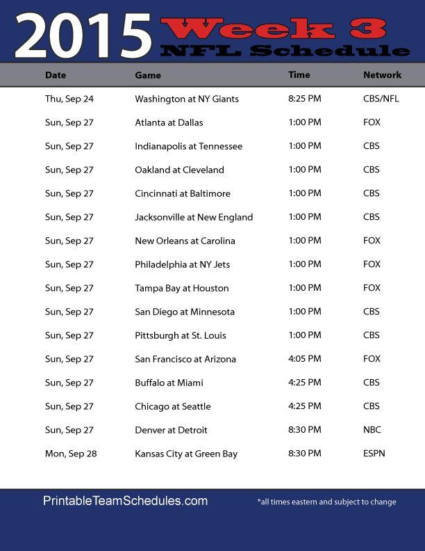 NFL Week 3 Schedule