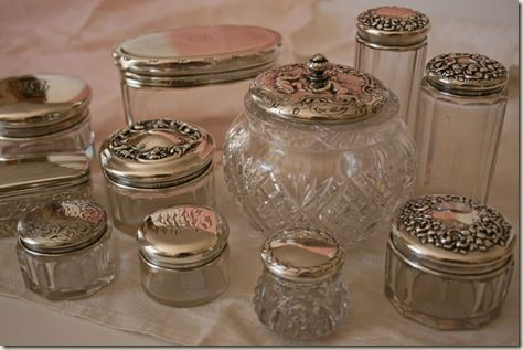 Beautiful collection of antique dresser jars with …