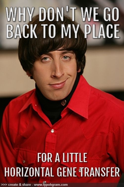 why don't we go back to my place and for a little horizontal gene transfer #science #quotes #funny