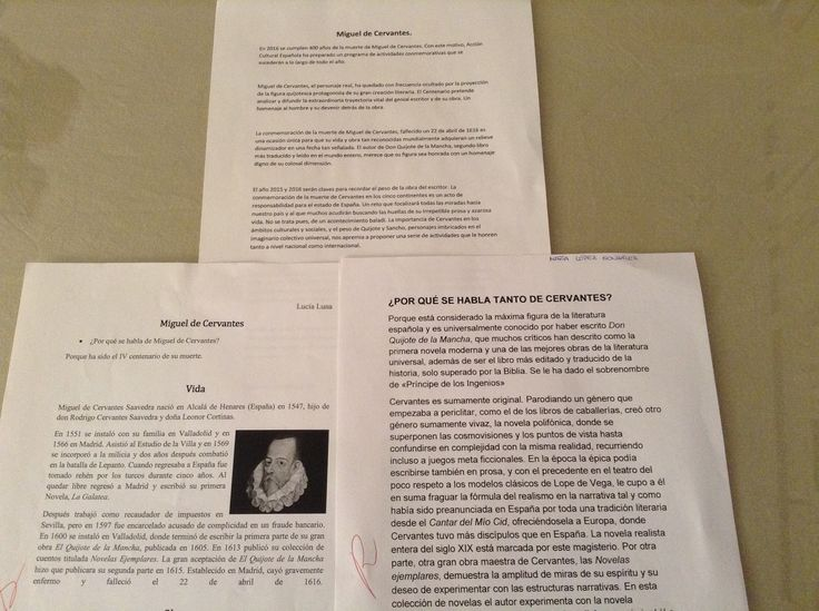 Trabajos de alumnos de 2º ESO B sobre el IV Centenario de la muerte de Miguel de Cervantes. Propuesta de la profesora Mª Rosa Ordóñez.
