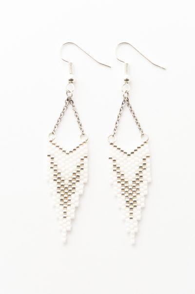 Artistic Bracelet Création - Boucles d'oreille CLEO Argent et blanc