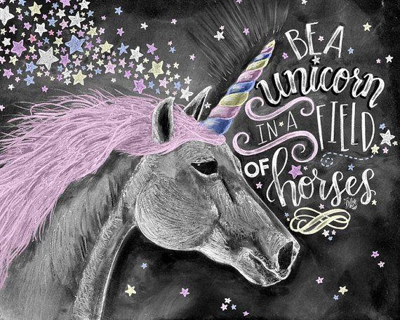 Unicorn kunst Unicorn afdrukken krijt kunst door TheWhiteLime
