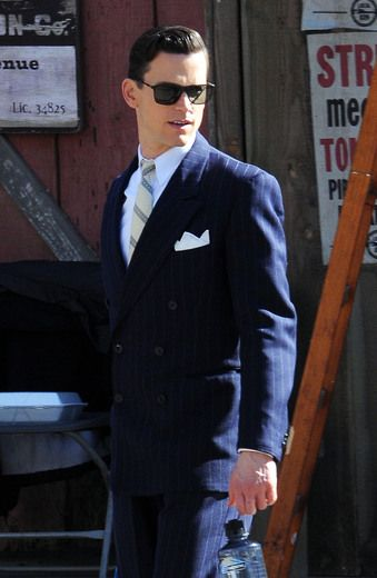 "Matt Bomer looked like a million bucks on the Los Angeles set of his new film, ""The Last Tycoon."""