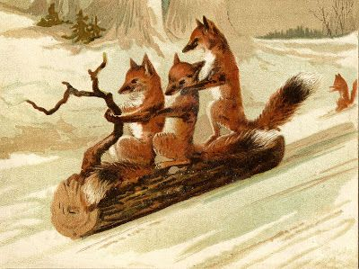 Vintage Image - Foxes Sledding on Log - The Graphics Fairy