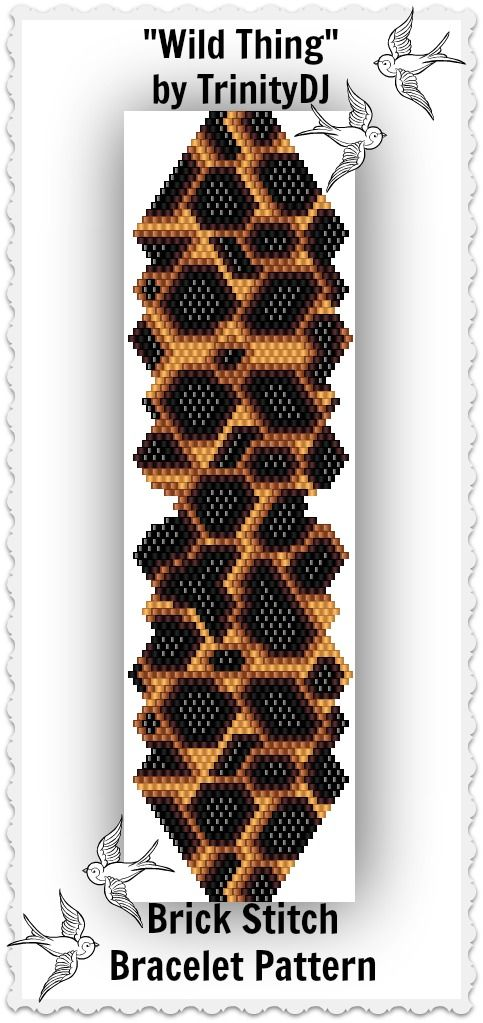 """Wild Thing"" - Brick Stitch Bracelet Pattern available as direct download and/or kit - Here's your chance to test bead new designs and earn DISCOUNTS on your next 'In the Raw' Design!  We are looking for 'testers' to work up these 'yet to be beaded' patterns. Please follow this link for more info: http://cart.javallebeads.com/Wild-Thing-Brick-Stitch-Pattern-p/td194.htm"